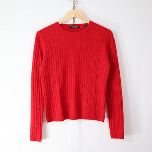 valerie stevens cashmere cable knit red sweater M